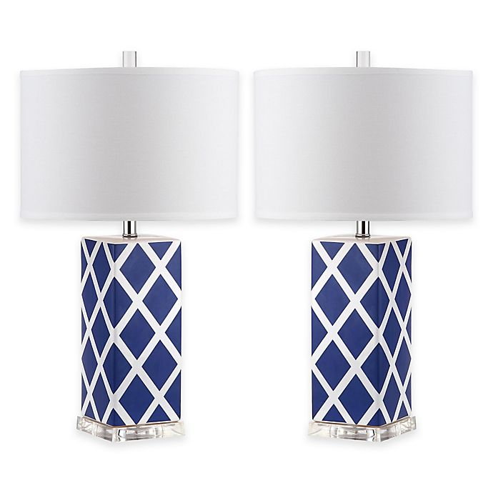 Alternate image 1 for Safavieh Garden Lattice 1-Light Acrylic Table Lamps with Cotton Shades (Set of 2)