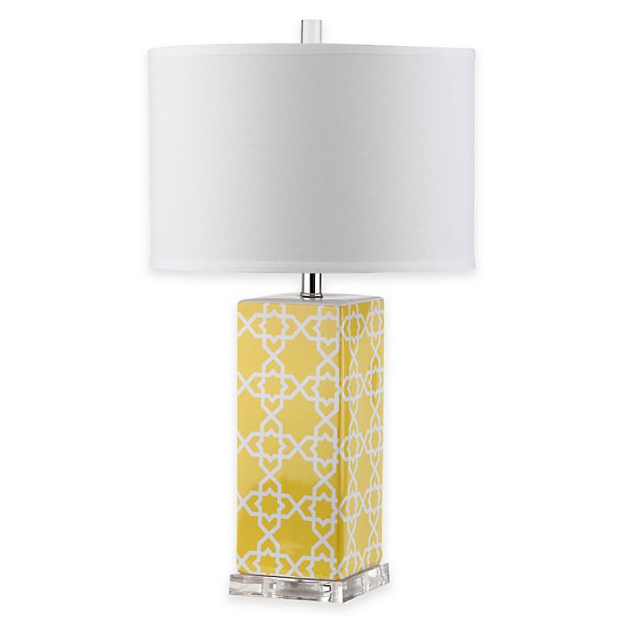 Alternate image 1 for Safavieh Quatrefoil 1-Light Acrylic Table Lamp in Yellow with White Shade