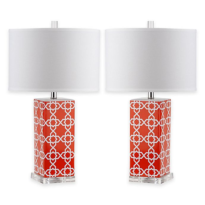 Alternate image 1 for Safavieh Quatrefoil 1-Light Acrylic Table Lamps in Orange with White Shades (Set of 2)
