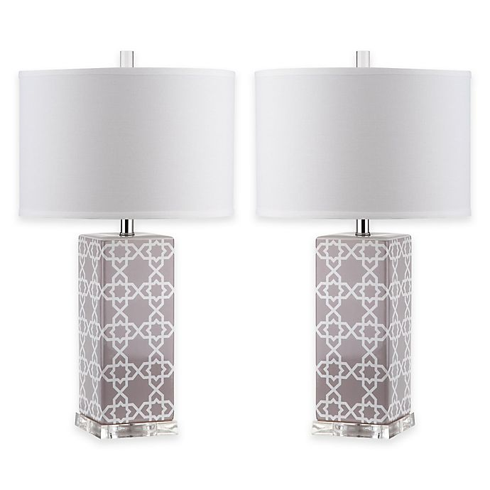 Alternate image 1 for Safavieh Quatrefoil 1-Light Acrylic Table Lamps in Grey with White Shades (Set of 2)