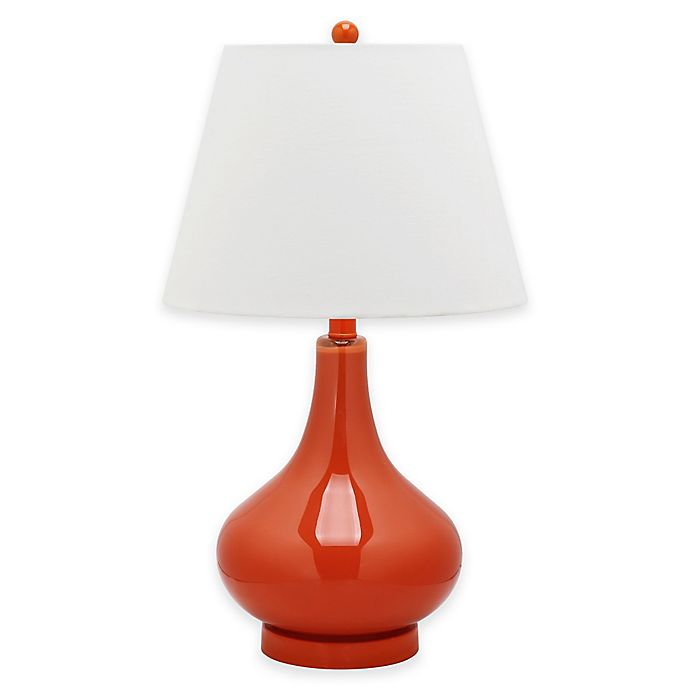 Alternate image 1 for Safavieh Amy 1-Light Glass Gourd Table Lamp in Orange with Cotton Shade