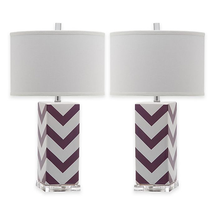 Alternate image 1 for Safavieh Chevron Table Lamps in Purple with Cotton Hardback Drum Shade (Set of 2)