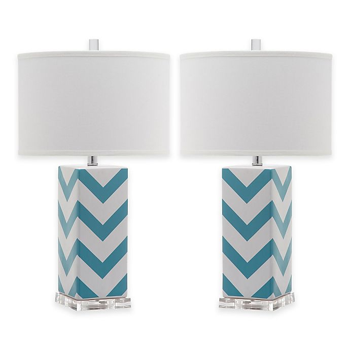 Alternate image 1 for Safavieh Chevron Table Lamps in Light Blue with Cotton Hardback Drum Shade (Set of 2)
