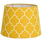 Flocked Linen Small 7-Inch Lamp Shade in Yellow/White