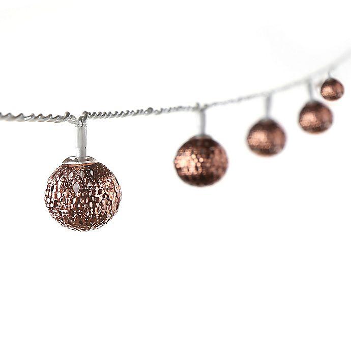Alternate image 1 for Pierced Ball 16-Light LED String Lights in Bronze