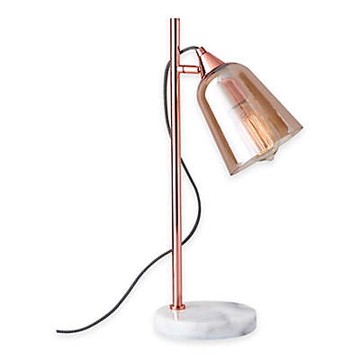 Adesso® Marlon Table Lamp in Copper with Glass Shade