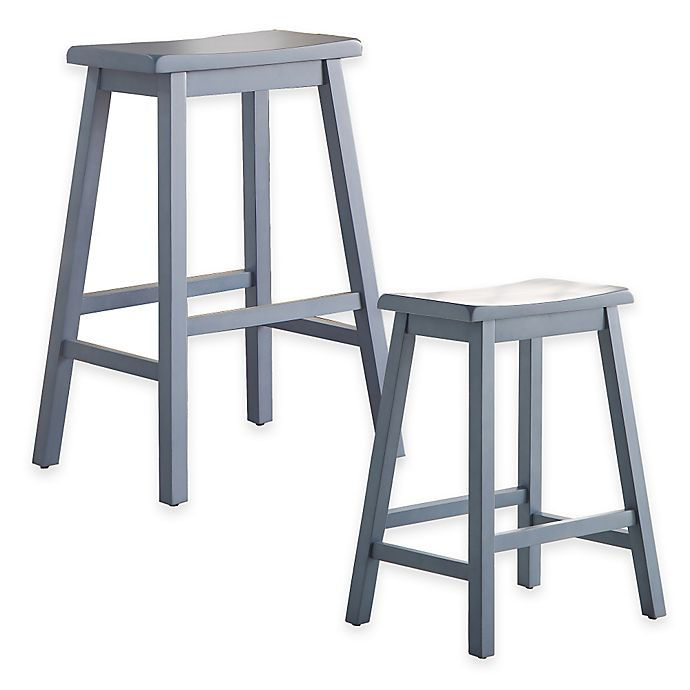 Buy Wood Saddle 29 Inch Barstool In Blue From Bed Bath