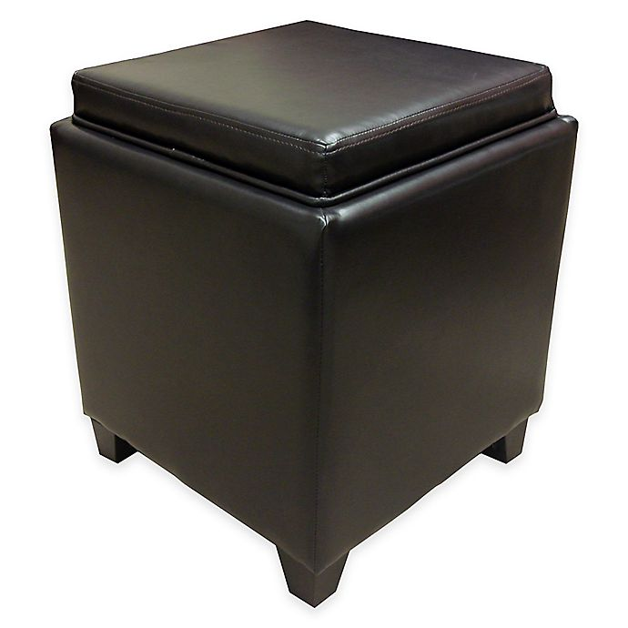 Alternate image 1 for Dubai Contemporary Storage Ottoman with Tray in Brown
