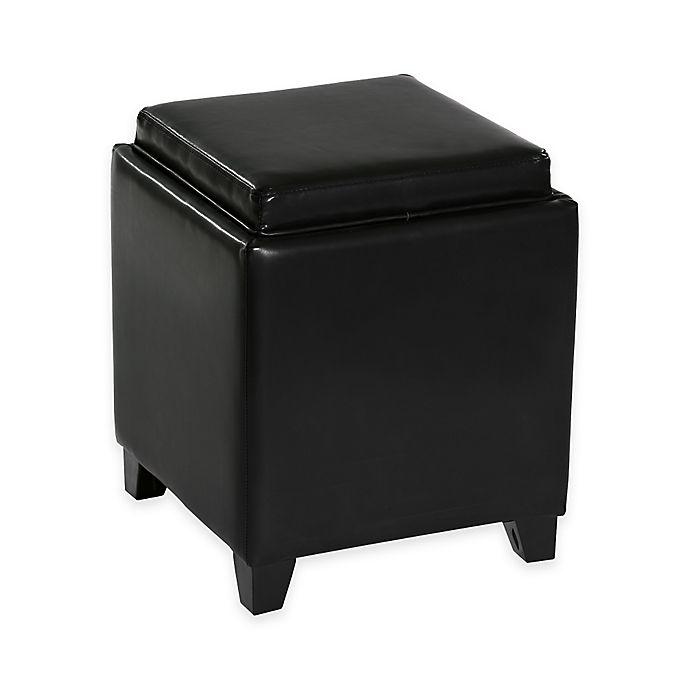 Alternate image 1 for Dubai Contemporary Storage Ottoman with Tray in Black