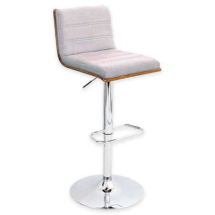 Alternate image 1 for LumiSource Vasari Bar Stool in Walnut with Grey Seat