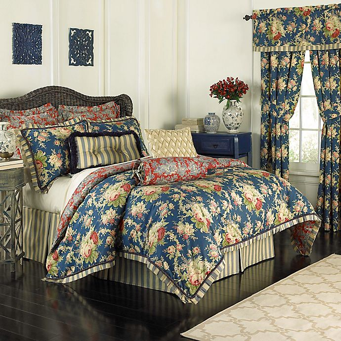 Alternate image 1 for Waverly® Sanctuary Rose Reversible Comforter Set in Blue