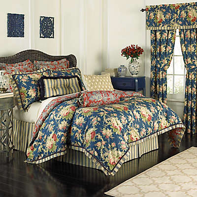 Waverly® Sanctuary Rose Reversible Comforter Set in Blue