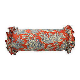 Waverly® Sanctuary Rose Neckroll Throw Pillow in Red