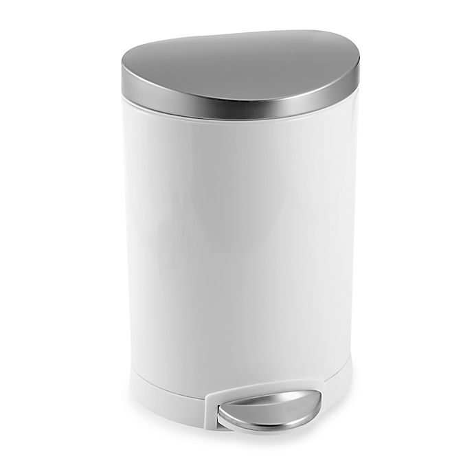Alternate image 1 for simplehuman Brushed Stainless Steel Fingerprint-Proof 6-Liter Semi-Round Step Wastebasket in White