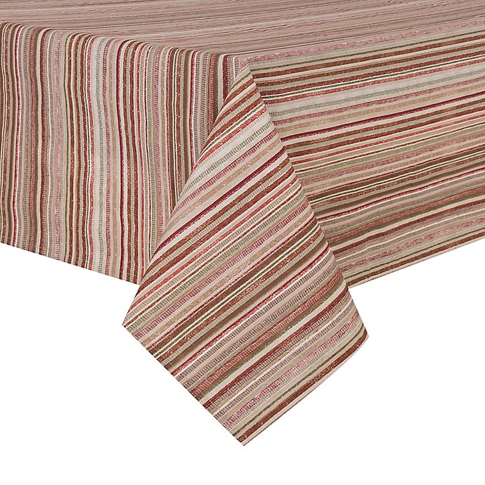 Alternate image 1 for Textured Stripe Laminated Fabric Table Linen Collection