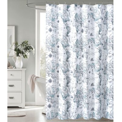 Bed Bath And Beyond Shower Curtain envogue map print shower curtain | bed bath & beyond