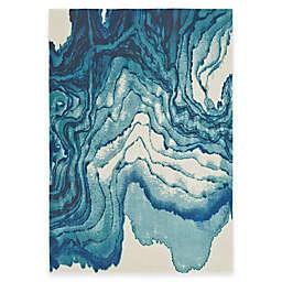 Weave & Wander Omari Contemporary Watercolor Rug in Atlantic Blue