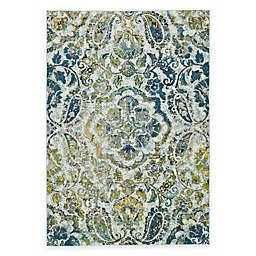 Weave & Wander Omari Ombre Medallion Rug in Teal Blue/Green/Gold