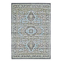 Feizy Landri Center Medallion Rug in Taupe/Blue