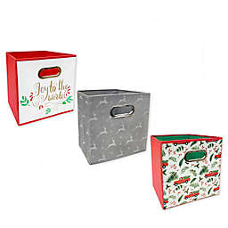 Relaxed Living Holidays 11-Inch Square Collapsible Storage Bin Collection