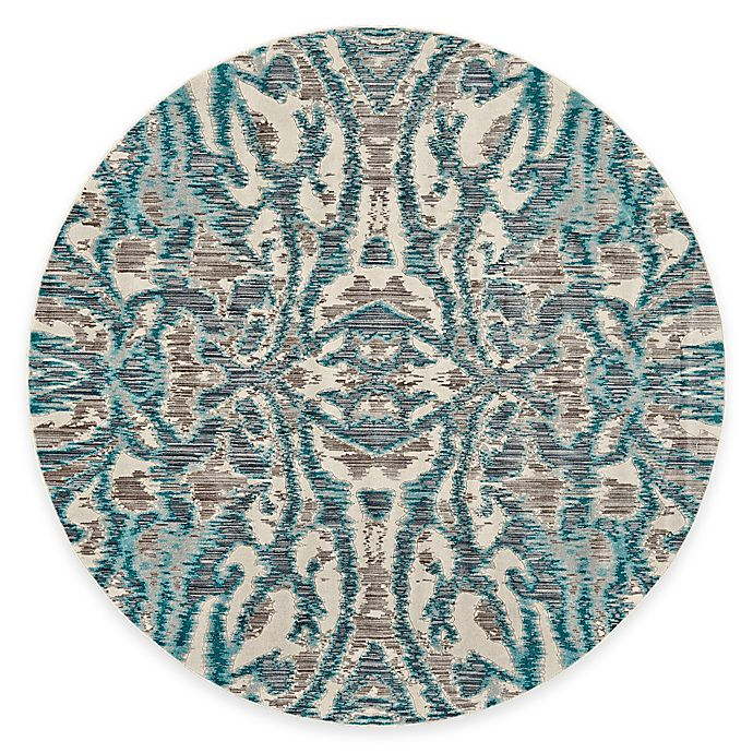 Alternate image 1 for Feizy Keaton Ikat 9-Foot Round Area Rug in Turquoise