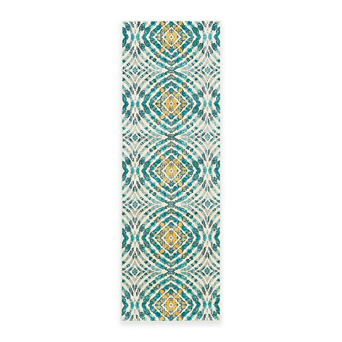 Alternate image 1 for Feizy Keaton Circles 2-Foot 7-Inch x 8-Foot Runner in Teal