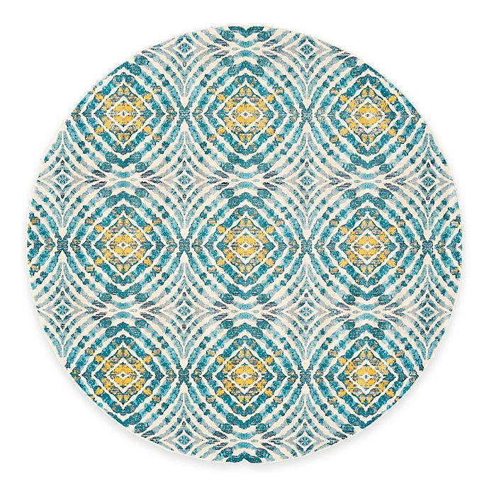 Alternate image 1 for Feizy Keaton Circles 9-Foot Round Area Rug in Teal