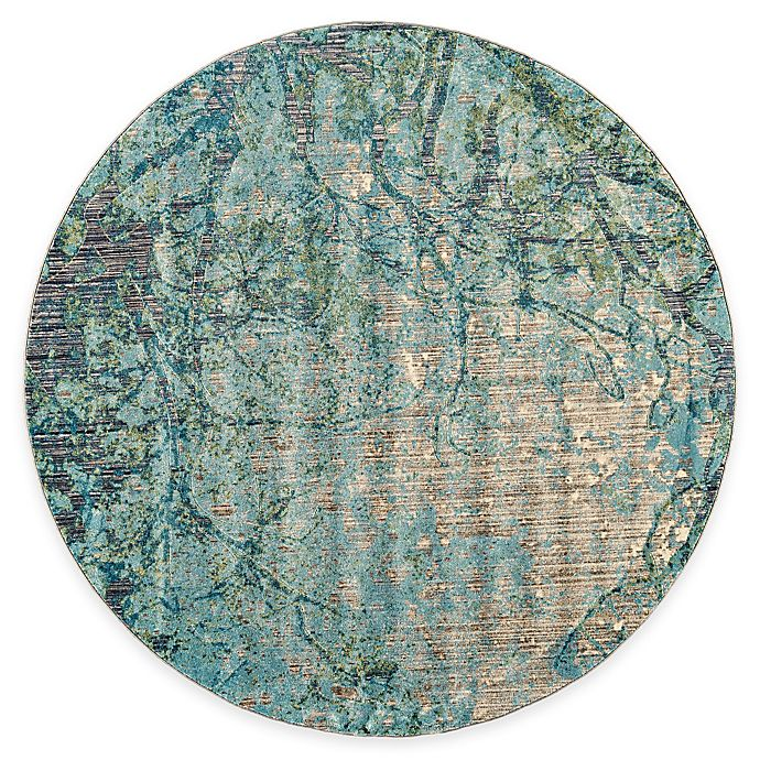 Alternate image 1 for Feizy Keaton Branch 9-Foot Round Area Rug in Blue/Grey
