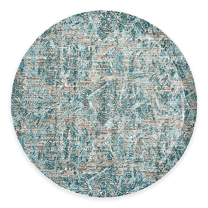 Alternate image 1 for Feizy Keaton Damask 9-Foot Round Area Rug in Aqua