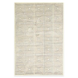 Feizy Settat Squares Rug in Grey/Cream
