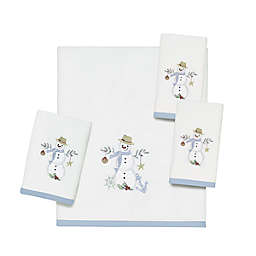 Avanti Coastal Snowman Bath Towel Collection in White