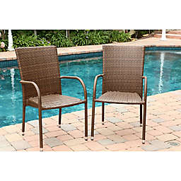 Abbyson Living® Palermo Outdoor Wicker Dining Armchairs in Brown (Set of 2)