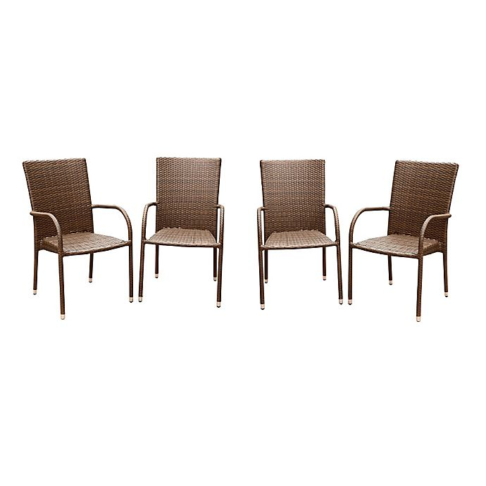Alternate image 1 for Abbyson Living® Palermo Outdoor Wicker Dining Armchairs in Brown (Set of 4)