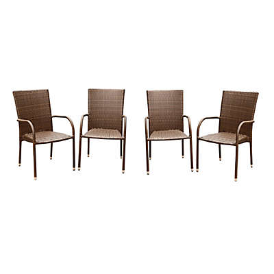 Abbyson Living® Palermo Outdoor Wicker Dining Armchairs in Brown (Set of 4)