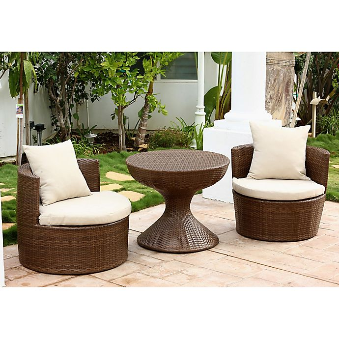 Alternate image 1 for Abbyson Living® Palermo Outdoor 3-Piece Wicker Chair Set in Brown/Beige