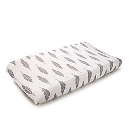 Liz and Roo Feathers Contoured Changing Pad Cover in Grey