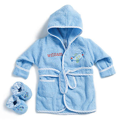 Size 0-9M Airplane Bathrobe with Booties in Blue