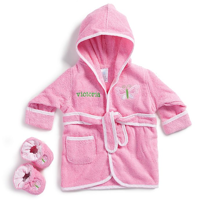 Alternate image 1 for Size 0-9M Butterfly Bathrobe with Booties in Pink
