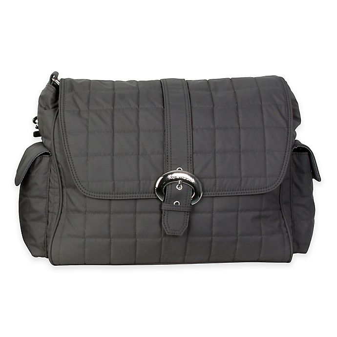 Alternate image 1 for Kalencom® Quilted Buckle Diaper Bag in Charcoal
