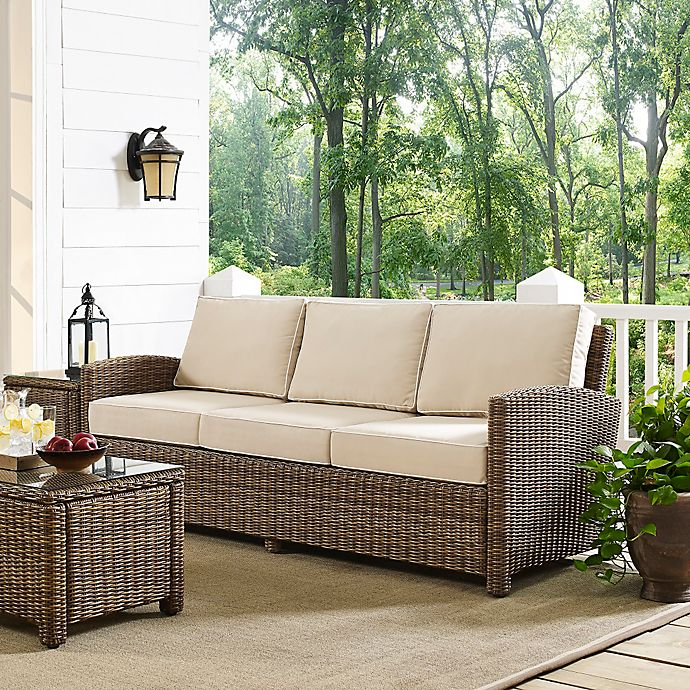 Alternate image 1 for Crosley Bradenton Outdoor Wicker Conversation Sofa in Brown/Sand