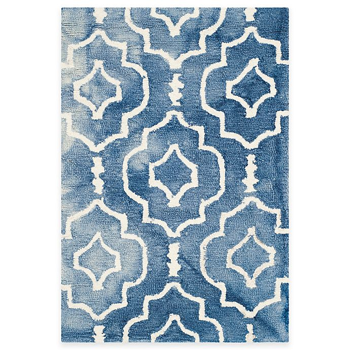Alternate image 1 for Safavieh Dip Dye Moroccan Trellis 2-Foot x 3-Foot Accent Rug in Blue/Ivory