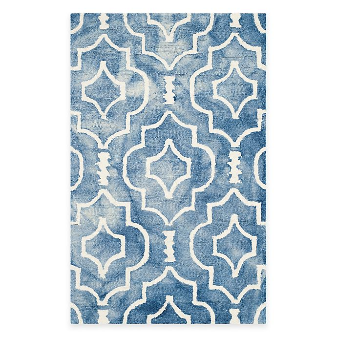 Alternate image 1 for Safavieh Dip Dye Moroccan Trellis 2-Foot 6-Inch x 4-Foot Accent Rug in Blue/Ivory
