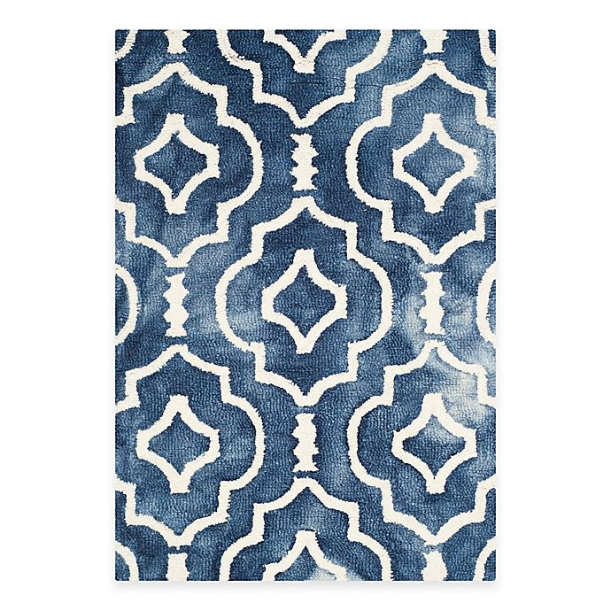 Alternate image 1 for Safavieh Dip Dye Moroccan Trellis 3-Foot x 5-Foot Area Rug in Navy/Ivory
