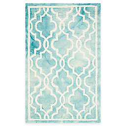 Safavieh Dip Dye Link Trellis 2-Foot 6-Inch x 4-Foot Accent Rug in Turquoise/Ivory