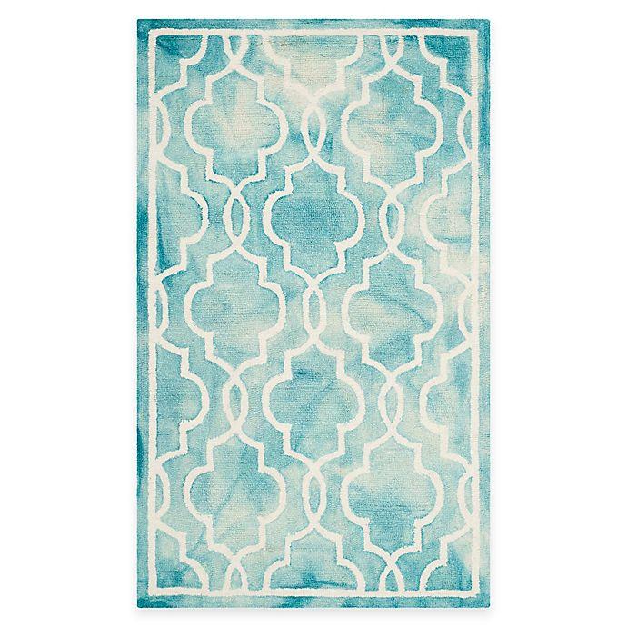 Alternate image 1 for Safavieh Dip Dye Link Trellis 3-Foot x 5-Foot Area Rug in in Turquoise/Ivory
