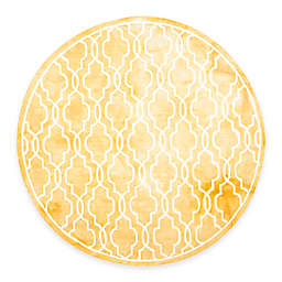 Safavieh Dip Dye Link Trellis 7-Foot Round Area Rug in Gold/Ivory