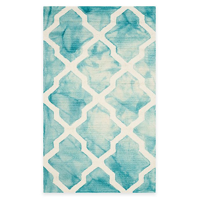 Alternate image 1 for Safavieh Dip Dye Diamonds 3-Foot x 5-Foot Area Rug in Turquoise/Ivory