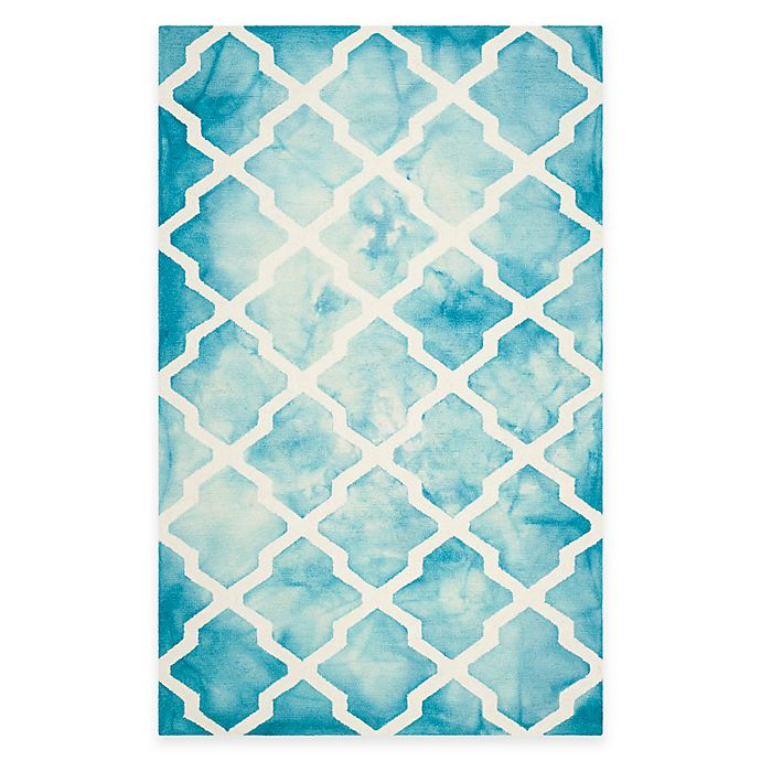 Alternate image 1 for Safavieh Dip Dye Diamonds 4-Foot x 6-Foot Rug in Turquoise/Ivory
