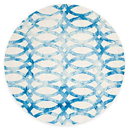 Safavieh Dip Dye Chain 7-Foot Round Area Rug in Ivory/Blue