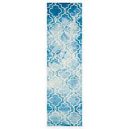 Safavieh Dip Dye Trellis 2-Foot 3-Inch x 6-Foot Runner in Blue/Ivory